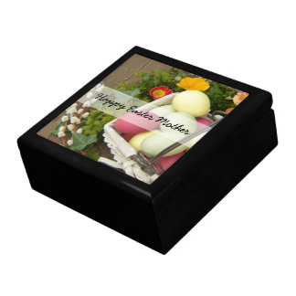 Spring Flowers and Basket of Easter Eggs Gift Box