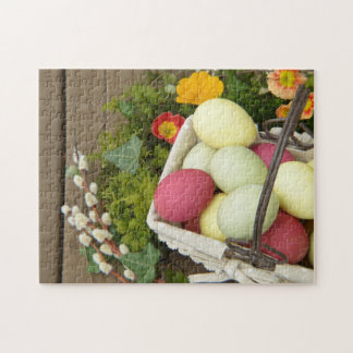 Spring Flowers and Basket of Easter Eggs Jigsaw Puzzle