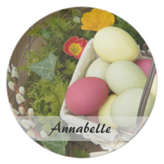 Spring Flowers and Basket of Easter Eggs Party Plate
