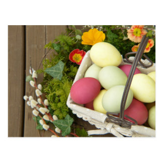 Spring Flowers and Basket of Easter Eggs Postcard