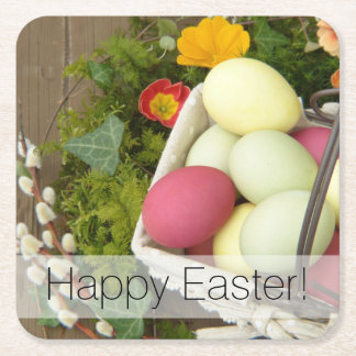 Spring Flowers and Basket of Easter Eggs Square Paper Coaster