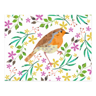 Spring flowers and robin bird postcard