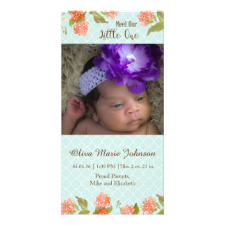 Spring Flowers Baby Personalised Photo Card