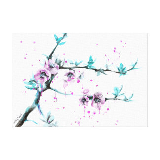 Spring flowers blossoms pink Wrapped canvas Canvas Prints