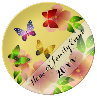 Spring Flowers & Butterflies Family Namesake Plate