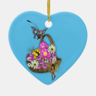 Spring flowers ceramic heart decoration