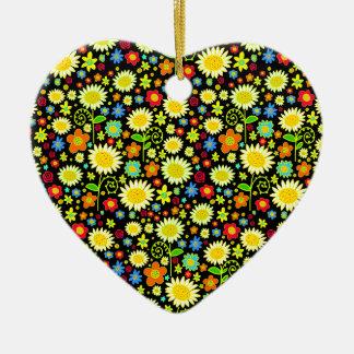 Spring Flowers Ceramic Heart Decoration