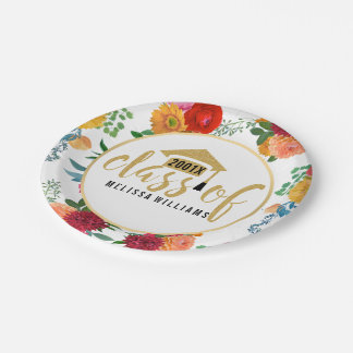 Spring Flowers Class Of 2017 In Gold Glitter Paper Plate