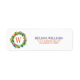Spring Flowers & Colorful Easter Eggs Wreath Return Address Label