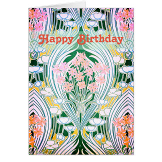 Spring Flowers Colorful Happy Birthday Card