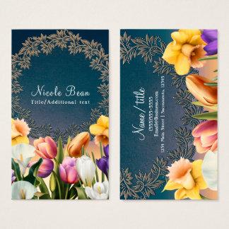 Spring Flowers Floral Frame Elegant Chic Custom Business Card