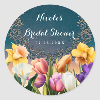 Spring Flowers Floral Frame Elegant Chic Favor Classic Round Sticker