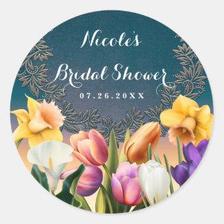 Spring Flowers Floral Frame Elegant Chic Favor Round Sticker