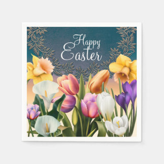 Spring Flowers Floral Frame Elegant Chic Party Paper Napkins