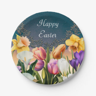 Spring Flowers Floral Frame Elegant Chic Party Paper Plate