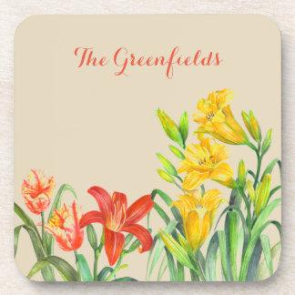 Spring Flowers Floral Garden Art Coaster