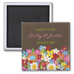 Spring Flowers Floral Garden Wedding Annnouncement Square Magnet