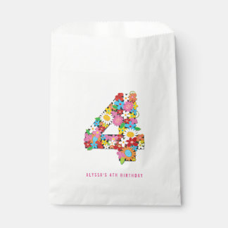Spring Flowers Four 4th Birthday Party Favor Bag