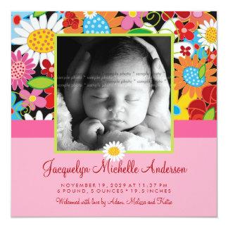 Spring Flowers Garden Baby Girl Birth Announcement