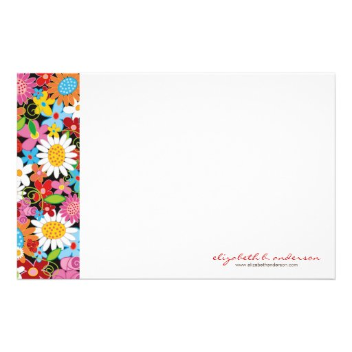 Spring Flowers Garden Note Card Custom Stationery