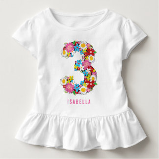 Spring Flowers Garden Pink Girl 3rd Birthday Party Toddler T-Shirt