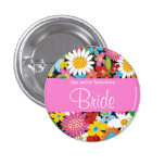 Spring Flowers Garden Wedding Bride Sweet Name Tag Buttons