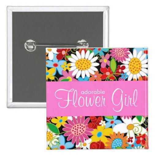 Spring Flowers Garden Wedding Flower Girl Name Tag Pin