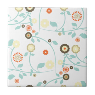 Spring flowers girly mod chic floral pattern small square tile