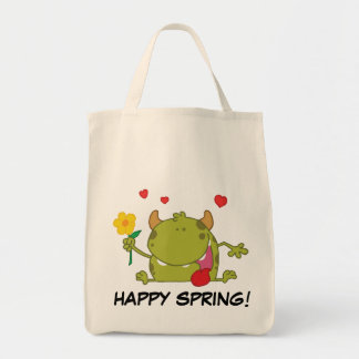 Spring Flowers Green Monster Grocery Tote Bag