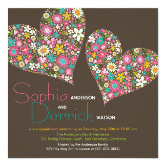 "Spring Flowers Heart Engagement Party Invite 5.25"" Square Invitation Card"