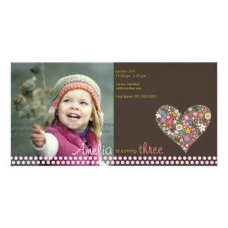 Spring Flowers Heart Girl Birthday Photo Invite