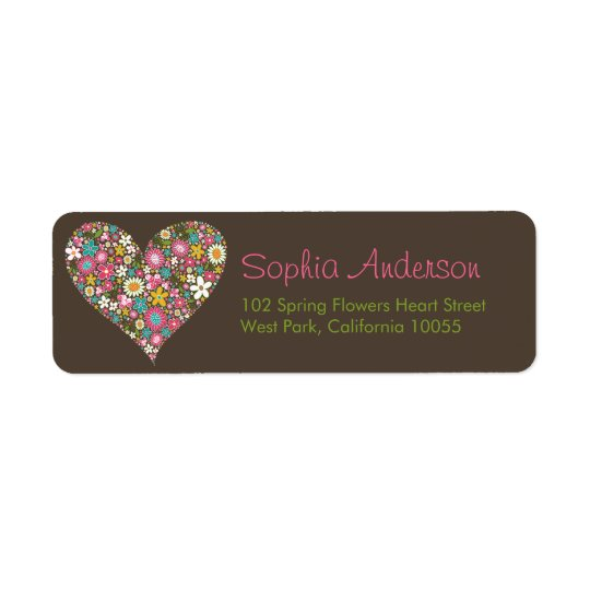 Spring Flowers Heart Love Bridal Shower Wedding Return Address Label