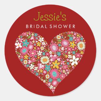 Spring Flowers Heart Love Bridal Shower Wedding Round Sticker