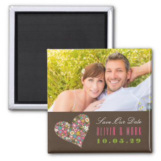 Spring Flowers Heart Save The Date Photo Magnet