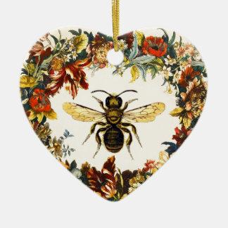 SPRING FLOWERS HONEY BEE / BEEKEEPER HEART CHRISTMAS ORNAMENTS