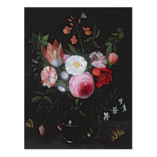Spring Flowers in a glass vase, 17th century Postcard