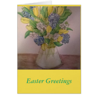 Spring Flowers in a Vase Easter Card