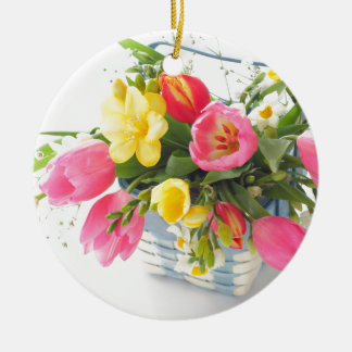 Spring flowers in basket round ceramic decoration