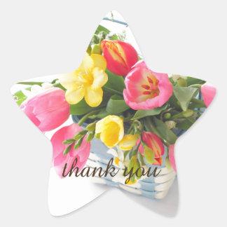 Spring flowers in basket star sticker