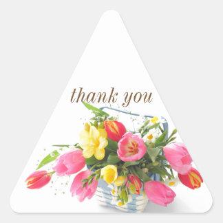 Spring flowers in basket triangle sticker