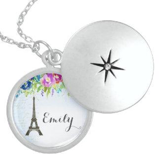 Spring Flowers keepsake with Paris Eiffel Tower Locket Necklace
