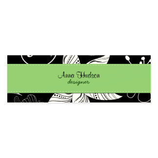 Spring Flowers Leaves Swirls Black, White, Green Business Card Templates