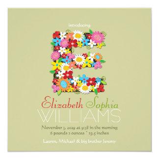 "Spring Flowers Monogram Baby Girl Photo Birth 5.25"" Square Invitation Card"