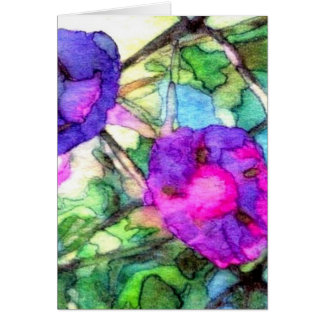 Spring Flowers Morning Glories Pretty Greeting Card