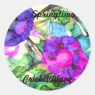 Spring Flowers Morning Glories Pretty Round Sticker