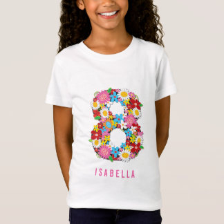 Spring Flowers Number Eight 8th Birthday Party T-Shirt