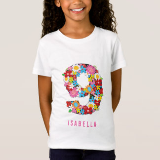 Spring Flowers Number Nine Girl 9th Birthday Party T-Shirt