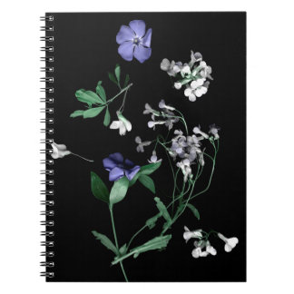 Spring flowers on black  Notebook (80 Pages B&W)