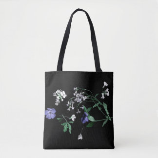 Spring flowers on black Tote Bag