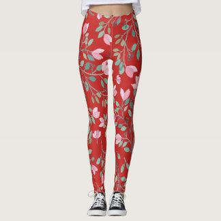 Spring Flowers on-Red Leggings